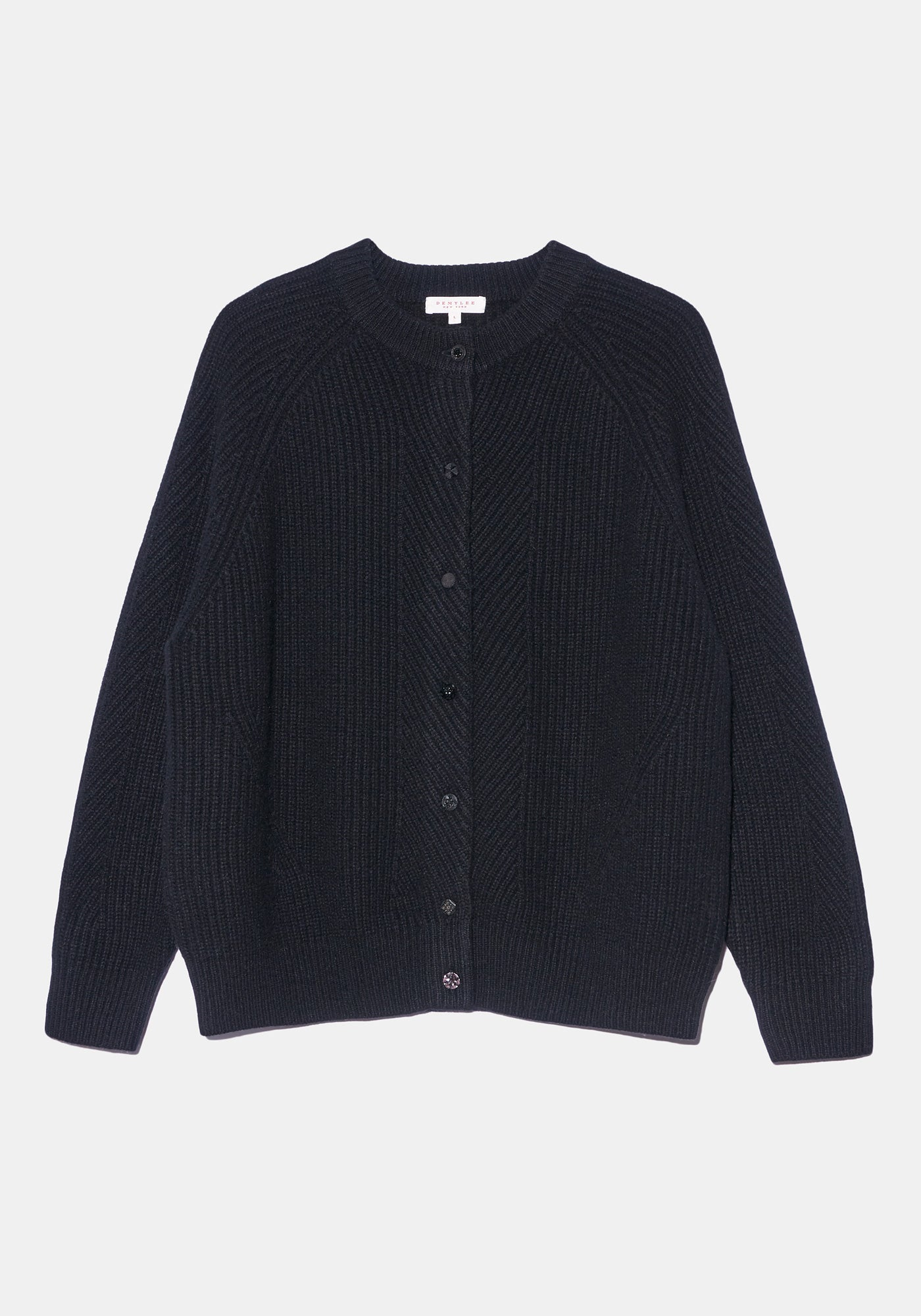 Black Cashmere Cardigan - L - Black Glass