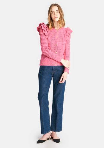 CLARE V. x DEMYLEE Nora Cardigan - Hot Pink