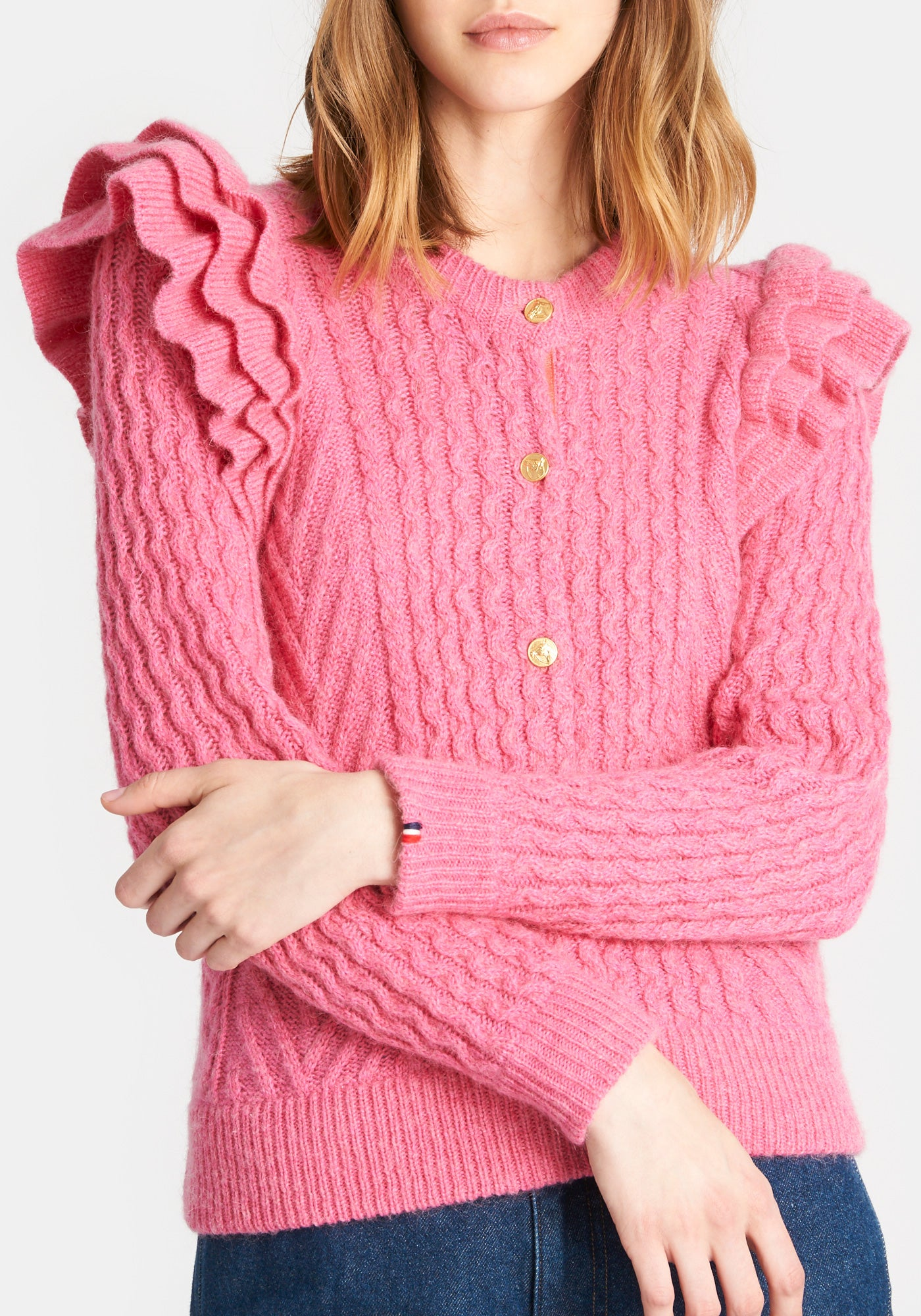 Nora Cardigan - Hot Pink - CLARE V. x DEMYLEE