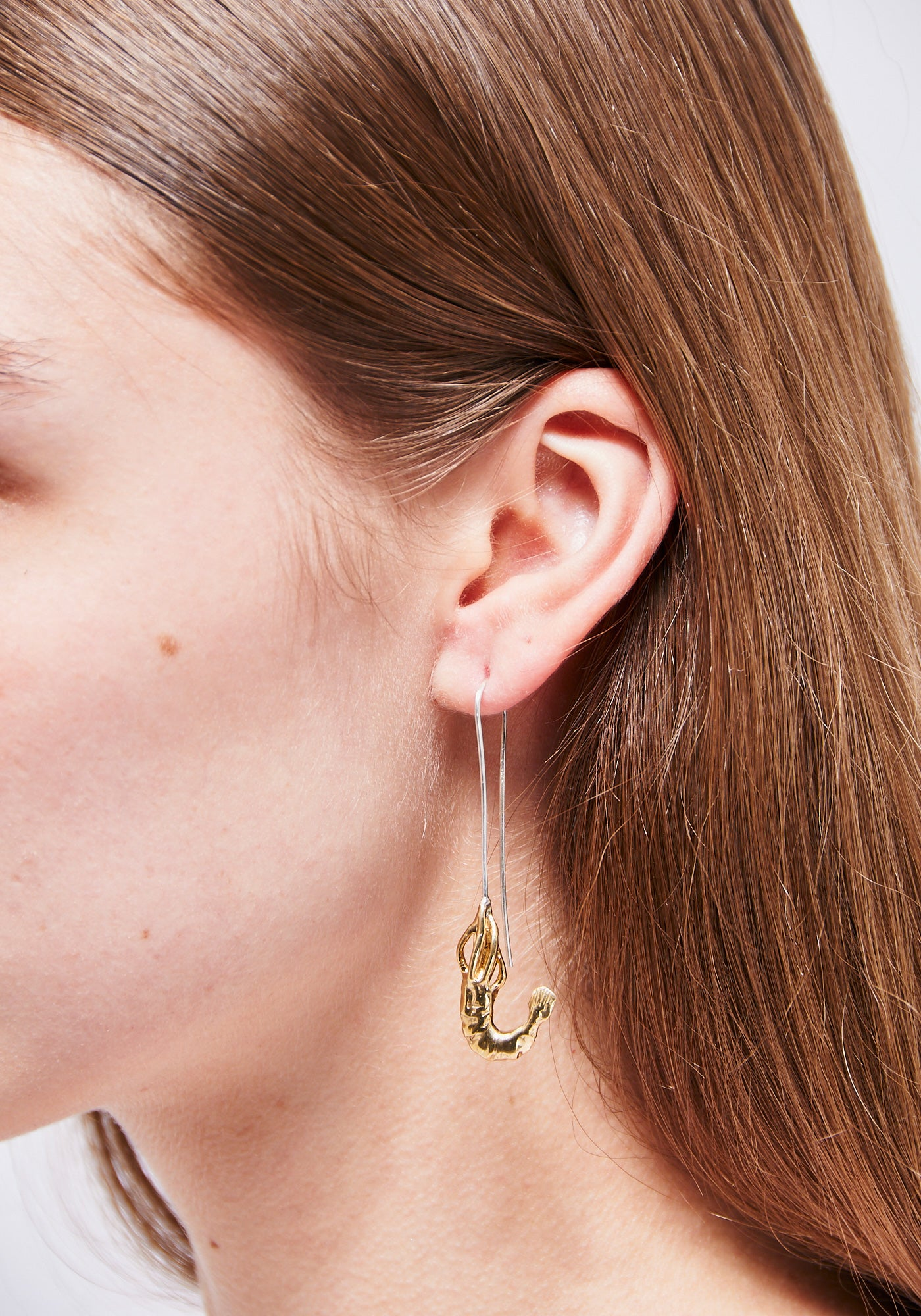Shrimp Hook Single Earring - Brass