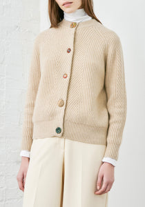 Lt Beige Cashmere Cardigan - XS - Novelty Wood