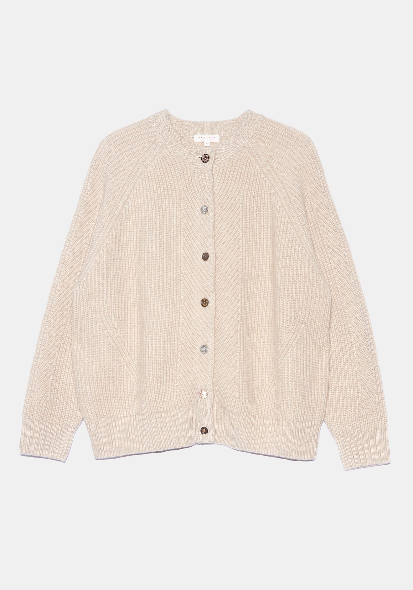 Lt Beige Cashmere Cardigan - L - Shell and Metal Mix