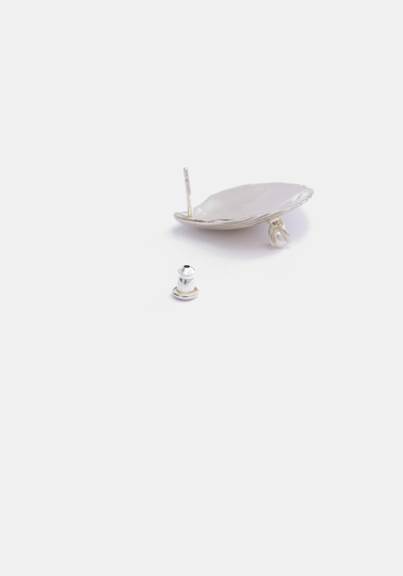 Scallop Stud Single Earring - Sterling Silver