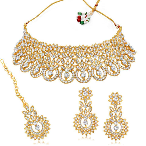 Sukkhi Adorable Alloy Gold Plated Austrian Diamond Women Necklace With Earrings And Maangtikka