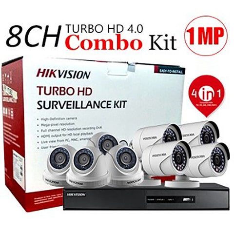 8 CHANNEL, 8 CAMERAS, 720p, 1MP, 2TB HDD, HIKVISION TURBO HD 4.0 CCTV SECURITY SURVEILLANCE PKG-1