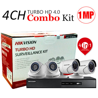 4 CHANNEL, 4 CAMERAS, 720p, 1MP, 1TB HDD, HIKVISION TURBO HD 4.0 CCTV SECURITY SURVEILLANCE PKG-1
