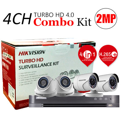 4 CHANNEL, 4 CAMERAS, 1080p, 2MP, 1TB HDD, HIKVISION TURBO HD 4.0 CCTV SECURITY SURVEILLANCE PKG-1