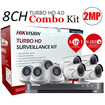 8 CHANNEL, 8 CAMERAS, 1080p, 2MP, 2TB HDD, HIKVISION TURBO HD 4.0 CCTV SECURITY SURVEILLANCE PKG-2