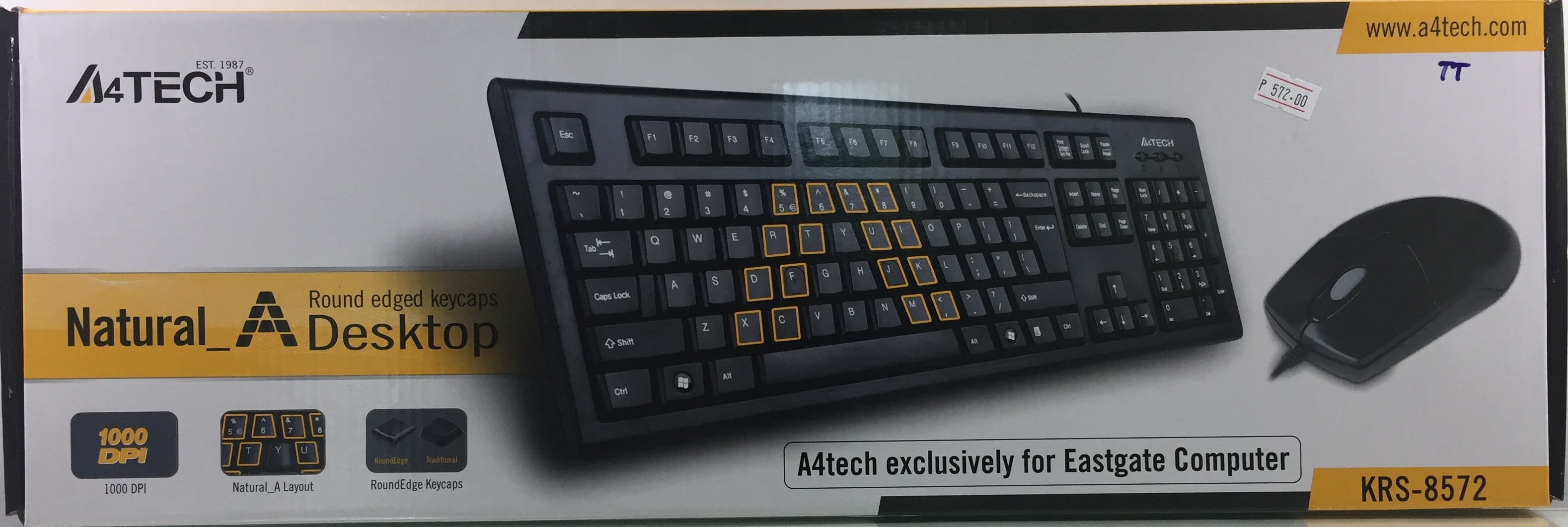 A4TECH KRS-8572 KEYBOARD + MOUSE USB BLACK - checkwayelectrotech.com
