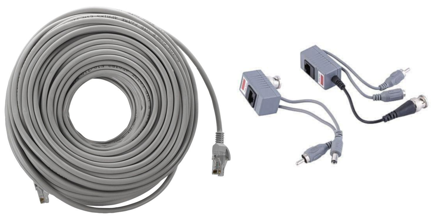 25m UTP CAT5e Cable Complete With RJ45 Connectors On Both Ends + 1-Pair Video Balun (BNC RJ45 Video and Power over CAT5/5E/6 Cable) - checkwayelectrotech.com