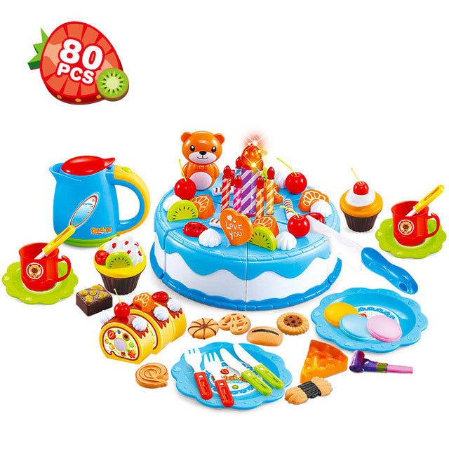 80PCS/Set Cake Food Kitchen Plastic Tea Cup Pretend Play Dishes Cutting Birthday Kettle Cookies Toys Kid Gifts Early Educational - checkwayelectrotech.com
