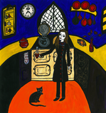 Self portrait with an AGA - naive art painting with a cooker and a cat.