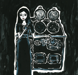 Self portrait with an AGA - naive art painting with a cooker. Monochrome.