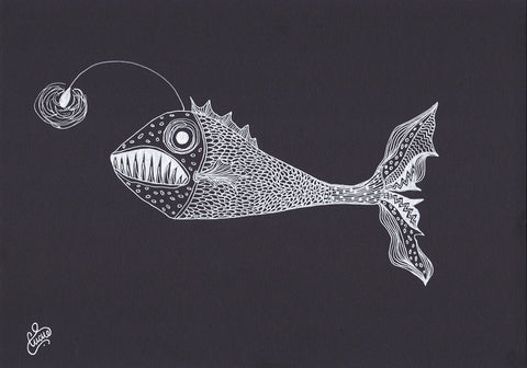 Viper Fish Drawing by Contemporary Naive Art Artist Silvena Toncheva