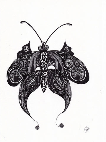 Original Tiger Butterfly Drawing by Silvena Toncheva