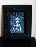 Dark Fairy - Naive Art painting - fairytale of magic and moths.