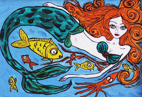 The Little Mermaid print by Silvena Naive Art