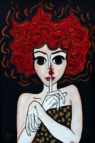 Demon - naive art painting of a fire lady with black eyes.