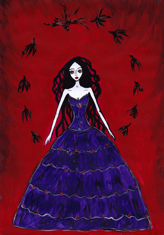 Witch - naive art painting. Gothic feel, magic, birds flying in a circle.