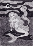 The sad mermaid - original drawing.