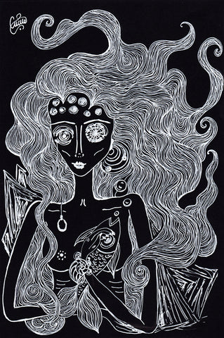 Drawing of a mermaid and a fish. Nautical naive art painting.