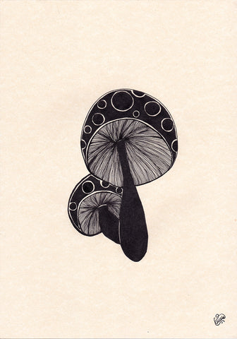 Original Mushrooms Drawing by Naive Art artist Silvena Toncheva