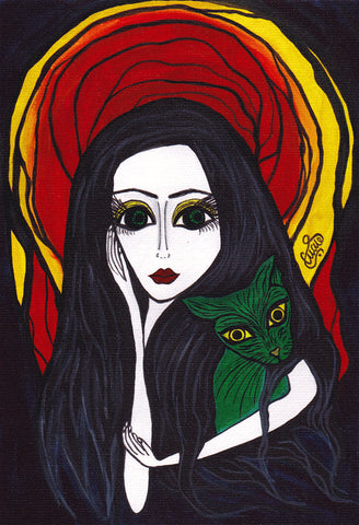 Madonna With A Green Cat Print by Silvena Toncheva Naive Art