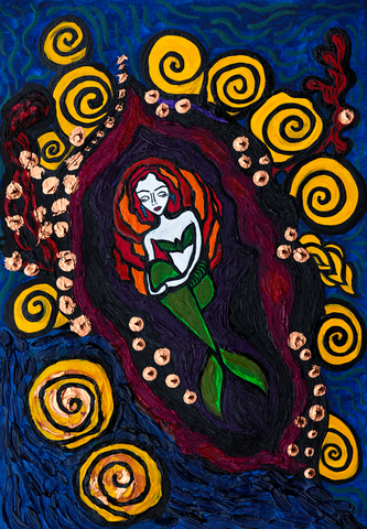 The Dream of The Mermaid - naive art painting filled with colour.