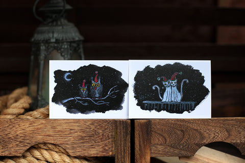 Winter Cats Greeting Cards Pack by artist Silvena Toncheva