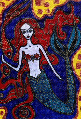 Mermaid With Red Fish Print by Silvena Toncheva Naive Art
