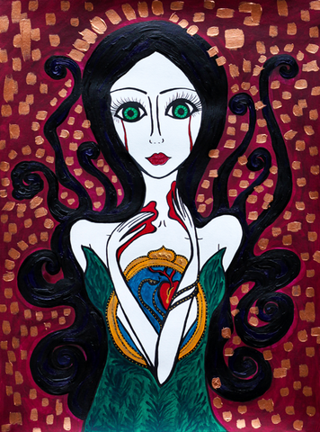 Crying My Heart Out - Naive Art Painting. Gothic feel.