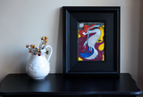 Imaginative Winter naive art painting. Red robins, black cat, crow, fairy.