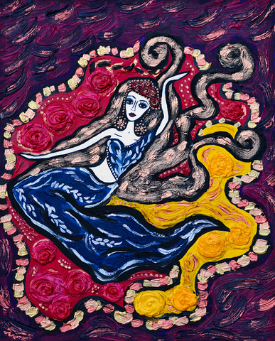 Passion Dance - detailed naive art painting. Ornamented, bright and colourful.