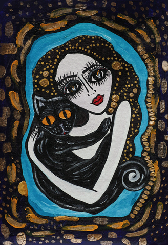 Aysha's familiar, naive art painting of a woman and a black cat.