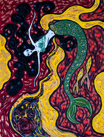 Mermaid with Forget-me-nots - naive art painting oil on canvas.