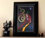 My Dark Companion - Original Naive Art Painting by Silvena