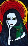 Madonna With a Green Cat - Original Naive Art Painting by Silvena