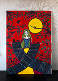 Blackbird Queen - Original Naive Art Painting by Silvena Toncheva