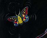 Moths Cradle original naive art painting