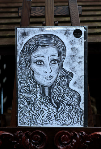 Portrait of a Young Lady - Original Charcoal Drawing on Paper  - Silvena Toncheva Naive Art
