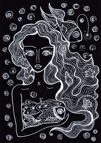 Mermaid with a fish - drawing ink on black paper.