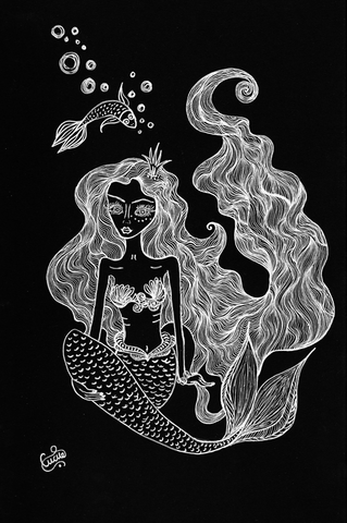 Hidden Depths - naive art mermaid painting by Silvena