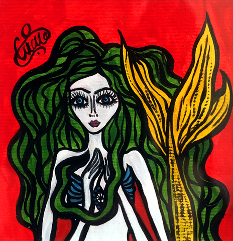 Siren Song, Original Naive Art paining by Silvena