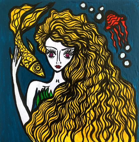 mermaid, naive art, nautical