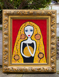 The Golden Girl - naive art painting based on a fairytale. Statement piece ideal for feature wall.