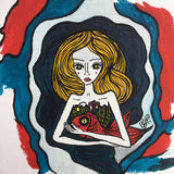 Hug a red fish - Original Naive Painting - Silvena Toncheva