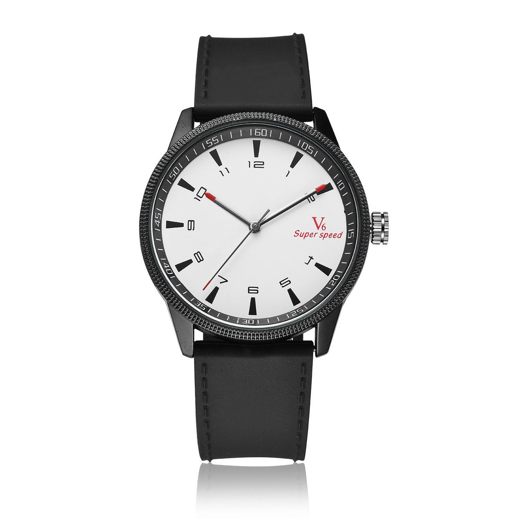 Waterproof Quartz Watch For Men Timeless Matter White faced black frame black belt