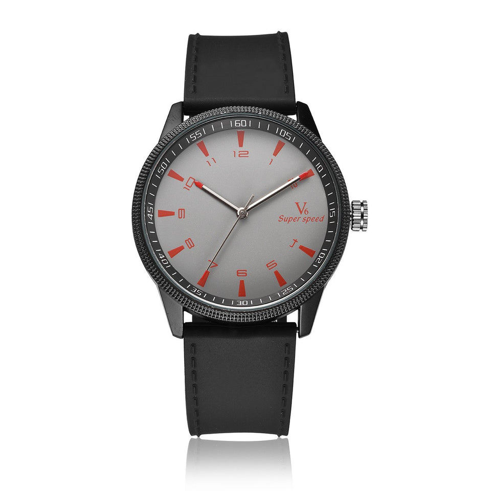 Waterproof Quartz Watch For Men Timeless Matter Gray faced silver frame black belt