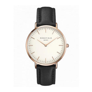 Rosefield Ultra Thin Quartz Watch For Women Timeless Matter Rose gold shell black with white surface