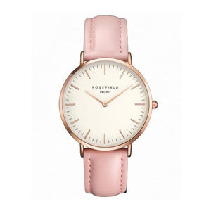 Rosefield Ultra Thin Quartz Watch For Women Timeless Matter Rose gold shell powder belt